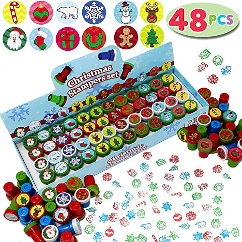 JOYIN 48 Pieces Christmas Assorted Stamps Kids Self-Ink Stampers (12 Different Designs, Plastic Stamps) for Christmas Party Favors, Stocking Stuffers, Kids Crafts, School Prizes and Goodies