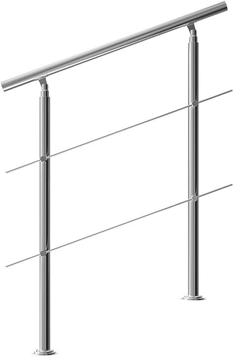 Ringhiera per scale acciaio inox antiruggine 100cm 2 traverse interno esterno corrimano da parete parapetto B08MW2YPDK
