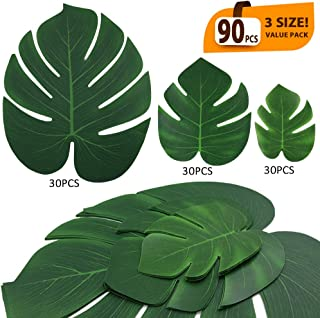 ElaDeco 90 Pcs Artificial Tropical Palm Leaves Luau Party Decoration Monstera Fake Large Green Leaf for Hawaiian Luau Party Decorations Jungle Beach Birthday Theme BBQ Party Supplies (3 Size)