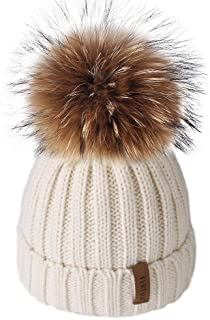 Kids Winter Toddler Hats for Girls Boys Baby Cotton Lined Fur Pom Pom Beanie Hat,Age 6 Months-10 Years