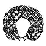 ABAKUHAUS Traliccio Cuscino da Viaggio, Vintage Fiorisce Stripes, Accessorio in Schiuma di Memoria per Viaggio, 30 cm x 30 cm, Charcoal Grey and White