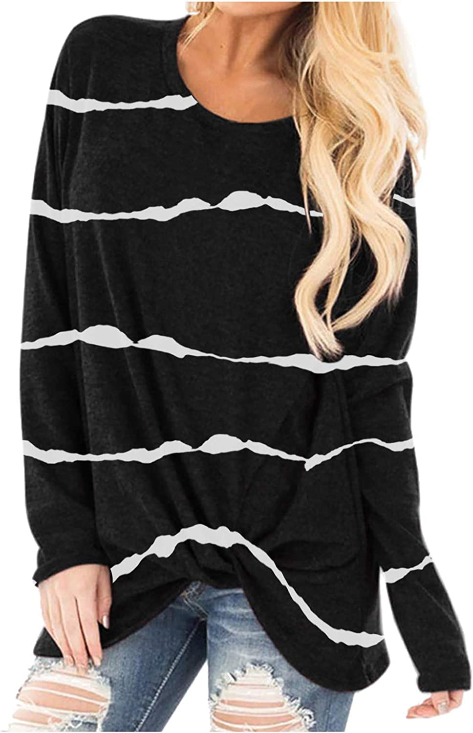 Casual Long Sleeve Crewneck Tunic Tops for Women Solid Striped Loose Twist Knotted T-Shirt Blouse Fit Autumn Sweatshirts