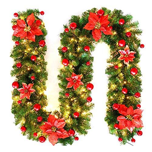 Ghirlanda Natalizia con LED, Addobbi Natalizi Ghirlanda Natalizia Illuminata per Scale, Balcone, Porta con Esterno, Camino Decorativo (Rosso)