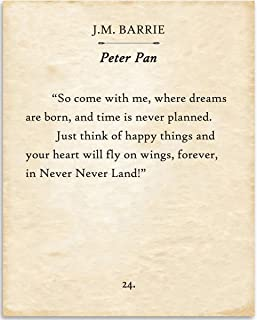 J.M. Barrie - So Come With Me Where Dreams Are Born - Peter Pan - Book Page Quote Art Print - 11x14 Unframed Typography Book Page Print - Great Gift for Book Lovers