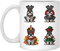 Miniature Schnauzer Halloween Christmas Thanksgiving 11 oz. White Mug