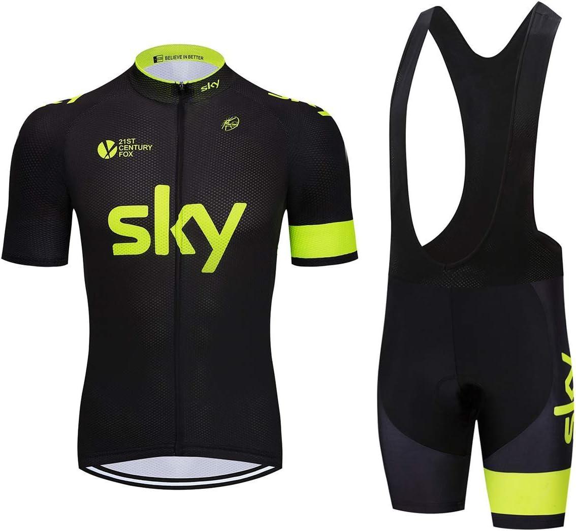 Camicia da Ciclismo Maniche Corte e Pantaloncini Corti Bicicletta con 3D Gel Imbottiti ADKE Abbigliamento Sportivo da Bici Uomo