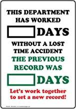 Department Worked Days Without Lost Time Accident Sign, 14x10 in. Aluminum for Industrial Notices, Made in USA by ComplianceSigns