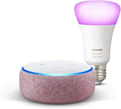 Echo Dot (3.ª generación), tela de color malva + Bombilla inteligente LED Philips Hue White & Color, compatible con Blueto...