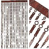 Door Curtain Screen From Wooden Beads Size - 90 x 200 cm - Handmade Hanging Beaded Door Blinds - Easy To Install