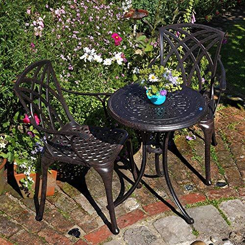 Lazy Susan - Ella 60 cm Bistrotisch mit 2 Stühlen - Rundes Gartenmöbel Set aus Metall, Antik Bronze (April Stühle, Beige Kissen)