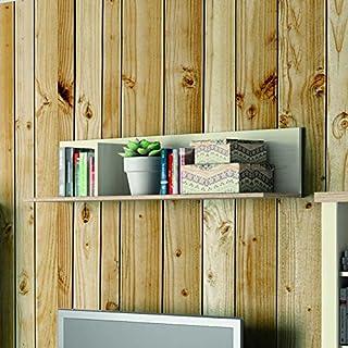 Estante para colgar de salon comedor Artik, color pino y cambrian 27x120x25 cm. Estantería colgante
