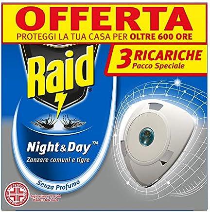 Raid Night & Day Tripla Ricarica - Antizanzare Elettrico - Confezione da 3 Ricariche