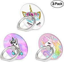 Cell Phone Ring Holder, 3-Pack 360 Degree Rotation Universal Pop Grip Stand Anti- Drop Finger Holder for Smartphone and Tablets - Cute Unicorn