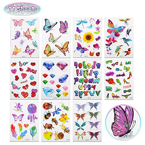 EKKONG(11 Bogen Tattoo,Tattoo Kinder,temporäre Tattoos,Tattoo Glitzer,Tattoo Set inkl Buchstab en Tier,Schmetterling mit Verschiedene Muster