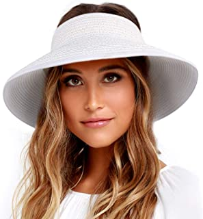 7d2eef6bf41af Sun Visor Hats for Women Wide Brim Straw Roll Up Ponytail Summer Beach Hat  UV UPF