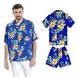 Juego Hawaiano Traje de Luau Camisa de Hombre Camisa de niño en Hibisco Azul Hombre 3XL Chico...