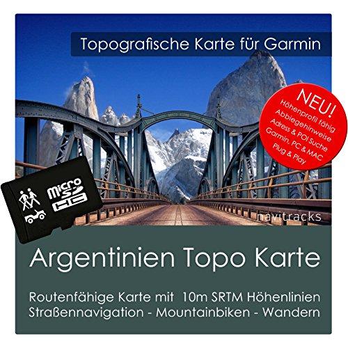 Argentinien Garmin Karte TOPO 8 GB microSD. Topografische GPS Freizeitkarte Fahrrad Wandern Touren Trekking Geocaching & Outdoor. Navigationsgeräte PC & MAC