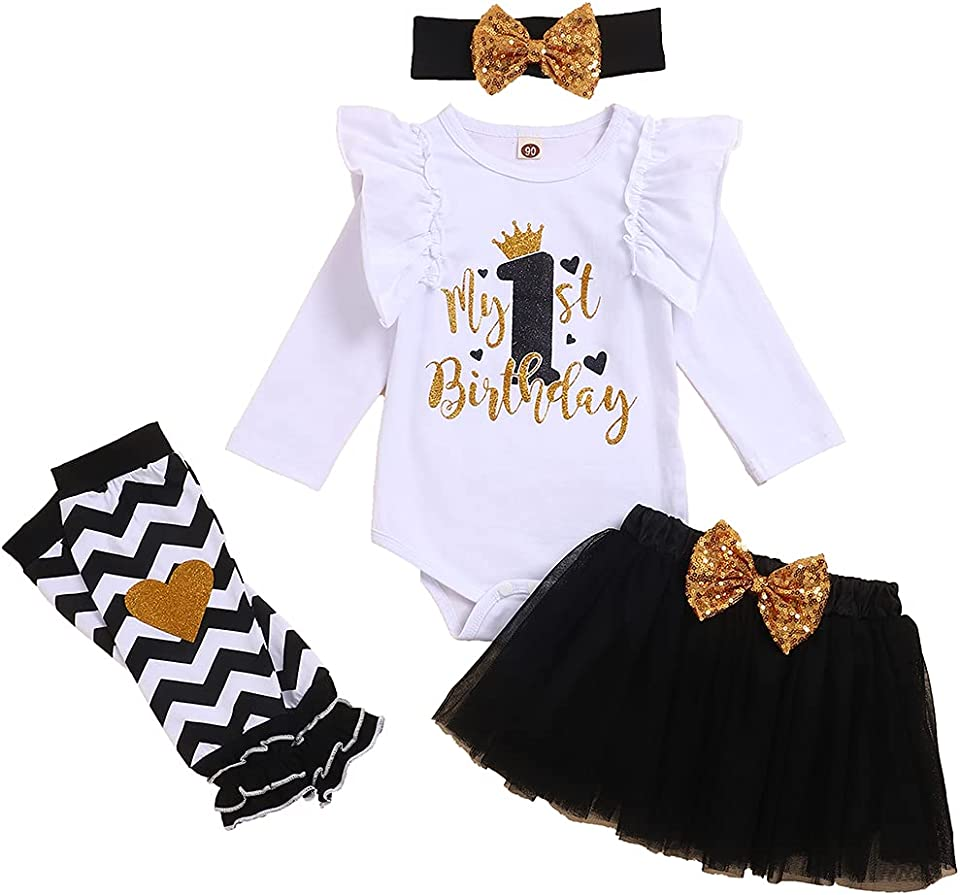 My First Birthday Baby Girl Skirt Clothes Set Infant Bodysuit Dress Headband Bow Outfits 4PC