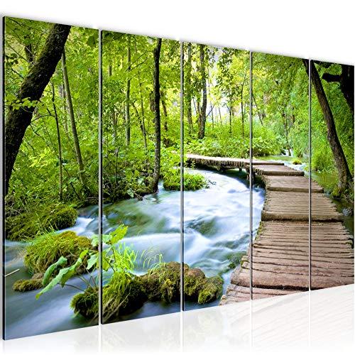 Bilder Landschaft Brücke Wandbild 150 x 60 cm Vlies - Leinwand Bild XXL Format Wandbilder Wohnzimmer Wohnung Deko Kunstdrucke Grün 5 Teilig - MADE IN GERMANY - Fertig zum Aufhängen 607456a