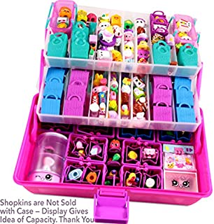 SHOPAFUN Storage Organizer - Fits Shopkins, LOL Dolls, Shoppies - Mini Packs Toy Carrying Case (2 Trays, 3 Levels, 2 Mats) Pink / BPA Free by Felix and Wise
