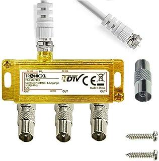TronicXL Distribuidor de antena de 3 vías, cable adaptador para televisión por cable coaxial por ejemplo compatible con Un...