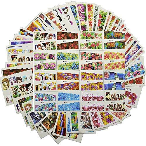 48 pièces nouveaux ensembles d'autocollants pour ongles de couleur mixte enveloppes de couverture complète fleur / Sexy fille Image pour décalcomanies de transfert d'eau d'art d'ongle TR # A145-192