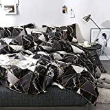 Luxlovery Black Marble Comforter Set Queen Geometric Plaid Bedding Set Full White and Black Blanket Quilts Black with Gold Line Bedding Comforter Sets for Men Boys Adults Women