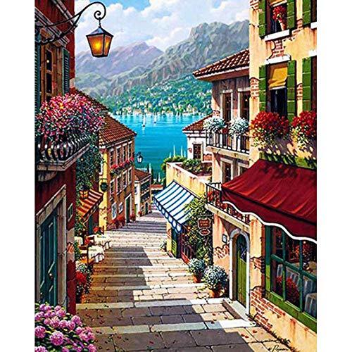 Zhonchng DIY Schilderen door Aantal Kits,Ladder Olieverf Tekenen Canvas met Borstels Kerst Decor Decoraties Geschenken - 16 * 20 Inch Zonder frame
