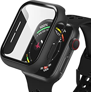 Dafill for Apple Watch Case 40mm Series 6/5/4/SE with Tempered Glass Screen Protector, Hard PC All Around Protective Cover Lightweight Ultra-Thin Bumper Compatible for iWatch 40mm - Black