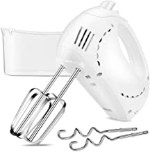 Electric Hand Mixer with Turbo, 5 Speed Hand Beater Kitchen Mixer with 2 Wider Beaters, 2 Dough Hooks and Storage Case