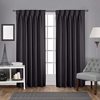 """Exclusive Home Curtains Sateen Twill Woven Blackout Pinch Pleat Curtain Panel, 96"""" Length, Charcoal, 2 Count"""