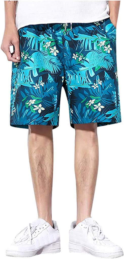 DIOMOR Fashion Outdoor Shorts for Men Casual Plus Size Drawstring Hawaiian Floral Beach Trunks Athletic 9
