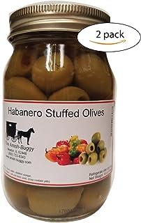 Stuffed Large Olives - Two 16 oz. Jars (Habanero Stuffed Olives)
