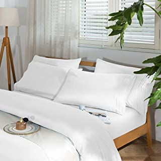 """SAKIAO -6PC Queen Size Bed Sheets Set - Brushed Microfiber 1800 Thread Count Percale - 16"""" Deep Pocket Wrinkle Free & Fade..."""