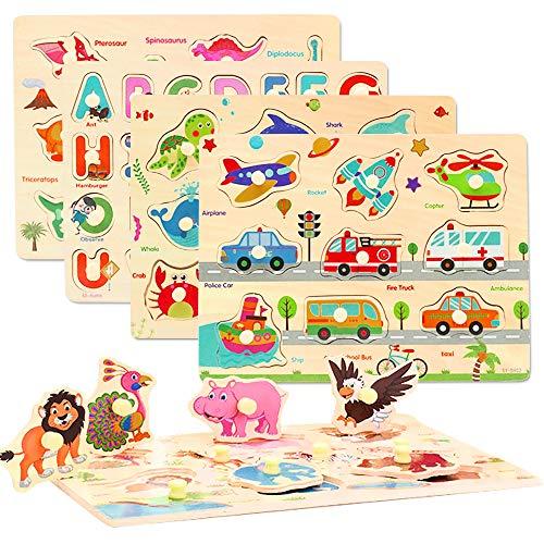 CORPER TOYS 木製パズル 型はめパズル かたはめパズル 積み木 形合わせ 形認識 パズル 英語おもちゃ 5種類シリーズ 男の子 女の子 カラフル プレゼント クリスマス 71PCS