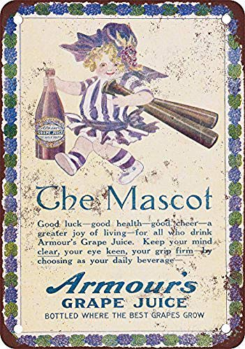 Armour Grape Juice And Baseball Blechschild Retro Blech Metall Schilder Poster Deko Vintage Kunst Türschilder Schild Warnung Hof Garten Cafe Toilette Club Geschenk