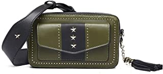 Luxurious Rivet Leather Handbag Fashion Shoulder Diagonal Small Square Shoulder Bag Ladies Leather Camera Bag 19CM * 7CM * 11CM (Color : Green)