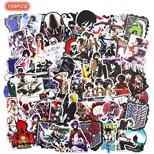 Realcome 109 Pcs Attack on Titan Stickers Anime Vinyl Sticker for Laptop Water Bottle Bike Car Motorcycle Bumper Luggage Skateboard Graffiti,Best Gift for Kids Children