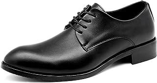 CAIFENG Oxfords Vestido Zapatos para Hombres Planeos Puntiagudos 4-Ojos Lace Up Up Block Block Tacón de Cuero sintético Su...