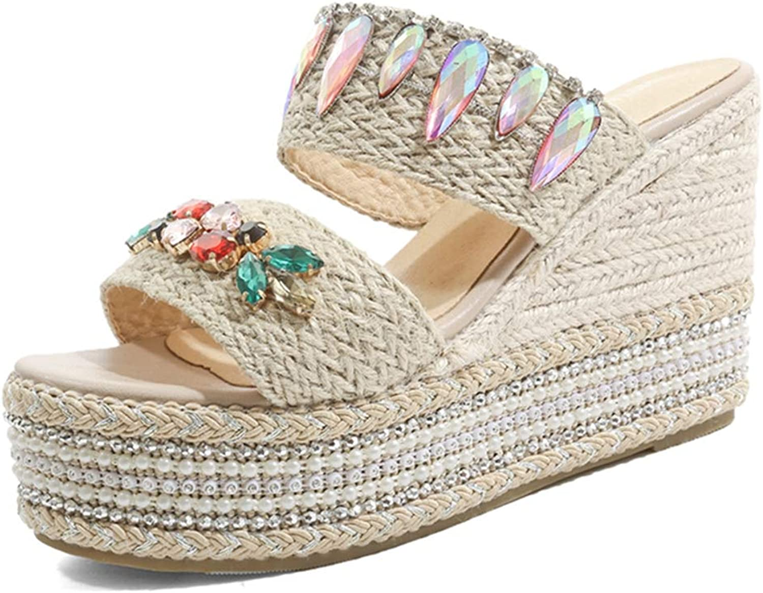 GIY Women's Strappy Crystal Wedges Platform Slides Sandals Summer Beach Open Toe Slip on Roman High Heels Slipper shoes