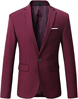 Mens Slim Fit One Button Casual Blazer Jacket