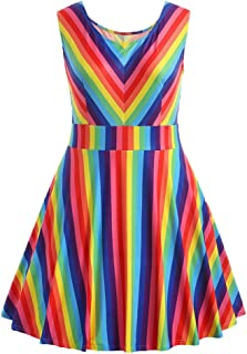 HGWXX7 Women Summer Fashion Plus Size Rainbow Print Sleeveless A-Line Mini Dress
