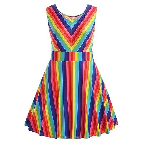b572f9d8b2e HGWXX7 Women Summer Fashion Plus Size Rainbow Print Sleeveless A-Line Mini  Dress