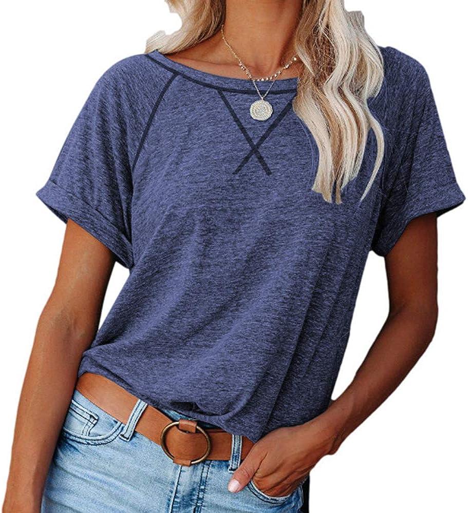 Womens Short Sleeve Raglan Crewneck T Shirts Tees Color Block Casual Loose Fit Tshirts Tops