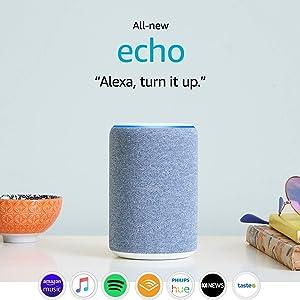 All-new Echo (3rd Gen) - Smart speaker with Alexa - Twilight Blue Fabric