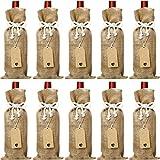 ABOAT Lot de 10 sacs à vin en toile de jute réutilisables 35,6 x 14,7 cm avec cordes en coton et étiquettes