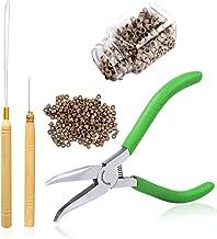 Kit de extensión de cabello Alicates Kits de herramientas para dispositivos de talón de gancho de tracción 5.5 pulgadas Mandíbulas lisas Juego de alicates de punta doblada y 500 piezas Micro anillos