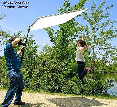 Fotodiox Pro Studio Solutions Boom Sun Scrim - Marco plegable para difusión de fotos y reflectores plateados y blancos con asa y bolsa de transporte (75 x 75 cm)