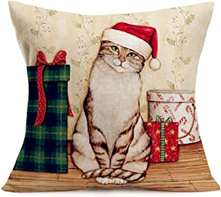 YANGYULU Hopyeer Merry Christmas Animals Home Sofa Couch Decoration Throw Pillow Covers Vintage Style Xmas Cute Cat in The...