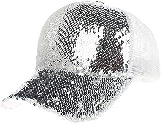 LPKH Hat Unisex Glitter Sequins Baseball Cap Adjustable Mesh Party Outdoor Sun Caps (52-62 cm) hat (Color : Silver)